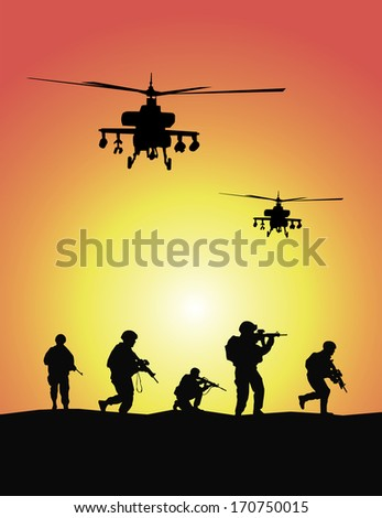 Soldiers group, military helicopters - stock vector