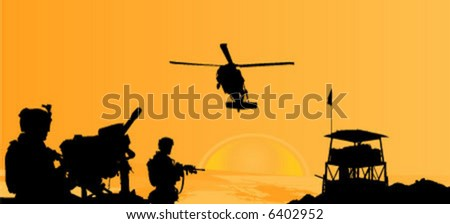 soldiers in desert vector scene