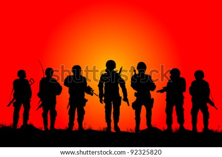 Soldiers silhouettes on a filed in the sunset - stock vector