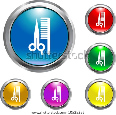 Solid Barber Button - stock vector