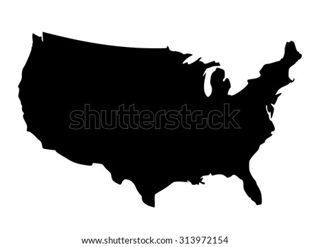 Solid Black Silhouette Map United States Stock Vector - Us map and alaska