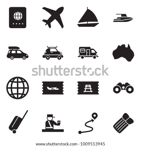 Solid black vector icon set - passport vector, plane, sail boat, yacht, car baggage, camper, australia, globe, ticket, train, binoculars, wheel suitcase, control, route, inflatable mattress