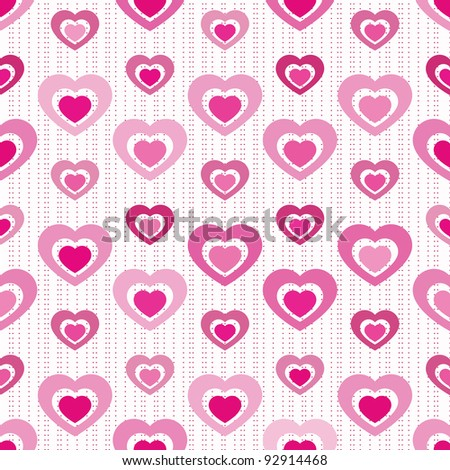 Solid-filled hearts ?cutout? from each other in various shades of pink arranged on seamless tile with miniature heart stripes - stock vector