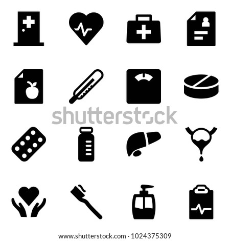 Solid vector icon set - first aid room vector, heart pulse, doctor bag, patient card, diet list, thermometer, floor scales, pill, pills blister, vial, liver, bladder, care, tooth brush, liquid soap
