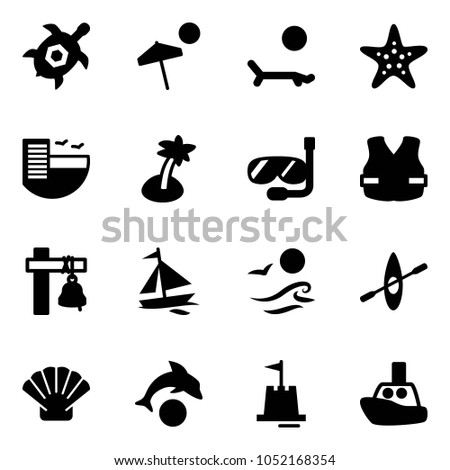 Solid Vector Icon Set Sea Turtle Stock Vector 1052168354 Shutterstock