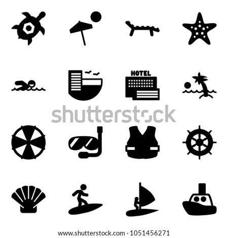 Solid Vector Icon Set Sea Turtle Stock Vector 1051456271 Shutterstock