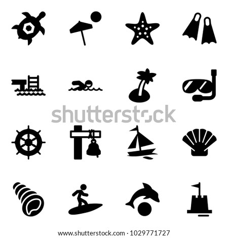 Solid Vector Icon Set Sea Turtle Stock Vector Hd Royalty Free