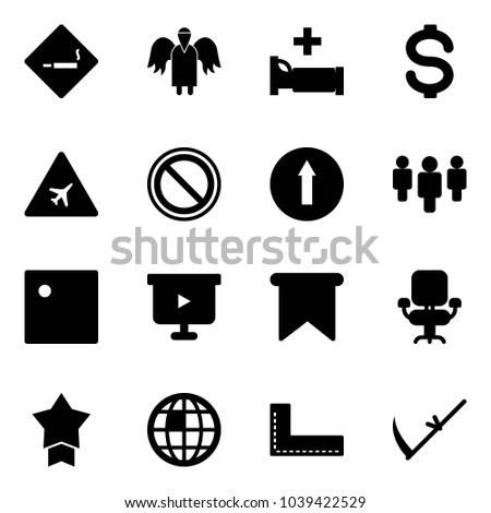 Solid vector icon set - smoking area sign vector, angel, hospital bed, dollar, airport road, prohibition, only forward, group, presentation board, flag, office chair, star medal, globe, corner ruler