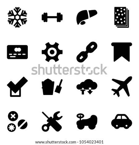 Solid Vector Icon Set Snowflake Vector Stock Vector 1054023401