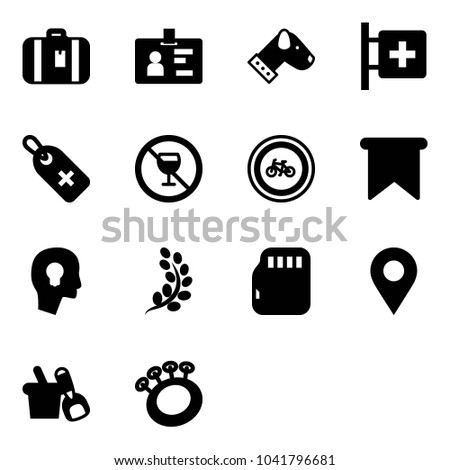 Solid vector icon set - suitcase vector, identity, dog, first aid room, medical label, no alcohol sign, bike road, flag, head bulb, golden branch, micro flash card, navigation pin, shovel bucket