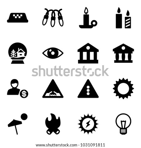 Solid Vector Icon Set   Taxi Vector, Garland, Candle, Snowball House, Eye