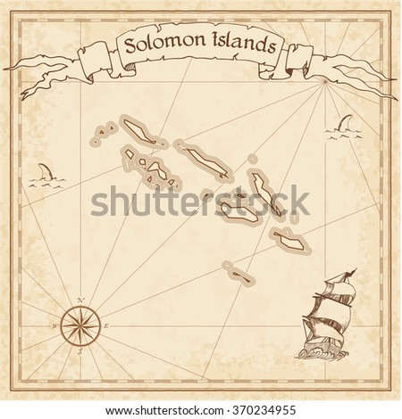 Solomon Islands old treasure map. Sepia engraved template of Solomon Islands treasure map. Stylized Solomon Islands treasure map on vintage torn paper.