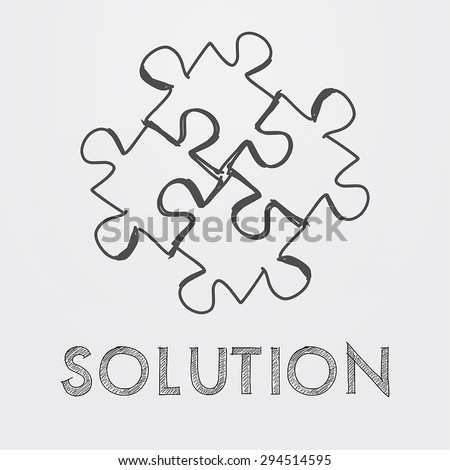 solution and puzzle pieces - text and sign in black white hand-drawn style, business creative concept, vector - stock vector