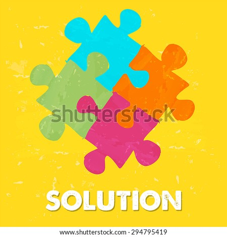 solution and puzzle pieces - text and sign in colorful grunge drawn style, business creative concept, vector - stock vector