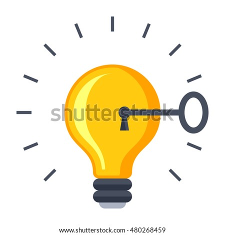 Solution concept with light bulb and key.