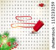 "Solution of puzzle.Text "" Merry Christmas"" highlighted with red pencil. Vector background - stock vector"
