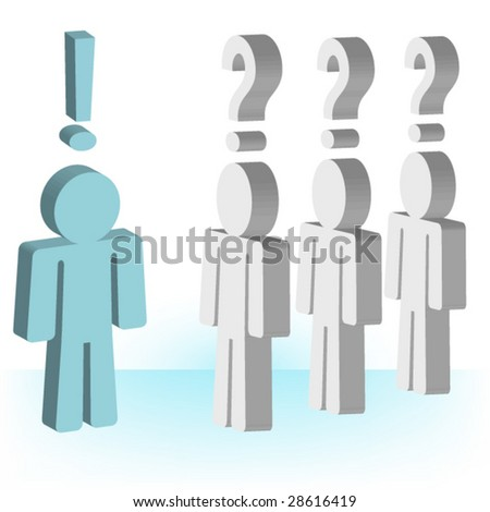 Solution Person and People Waiting for answers vector - stock vector
