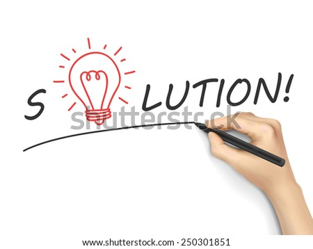 solution word written by hand over white background