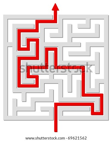 Solved labyrinth - stock vector