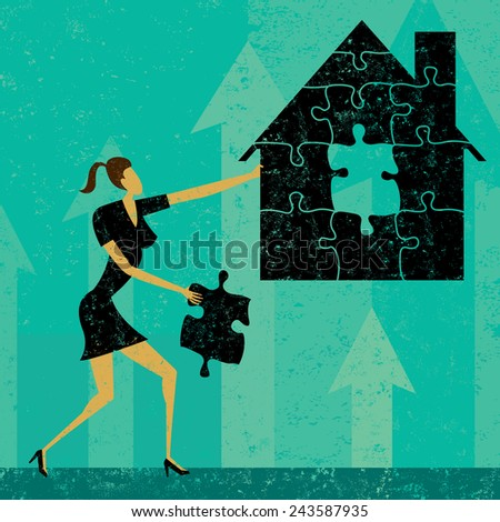 Solving Home Mortgage Problems Businesswoman putting the puzzle pieces together to find a solution to home mortgage problems. The woman and house is on a separate labeled layer from the background. - stock vector
