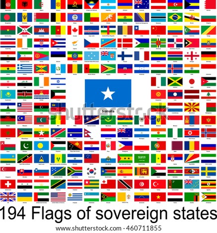 Somalia, collection of vector images of flags of the world