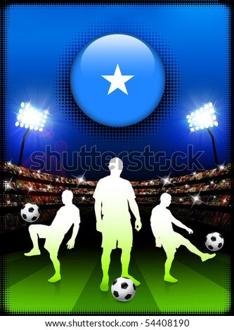 Somalia Flag Button with Soccer Match in Stadium Original Illustration - stock vector
