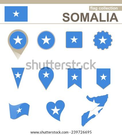 Somalia Flag Collection, 12 versions - stock vector