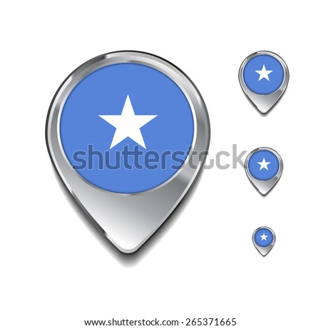 Somalia flag map pointer. 3d Map Pointer with flag glossy button style on gray background - stock vector