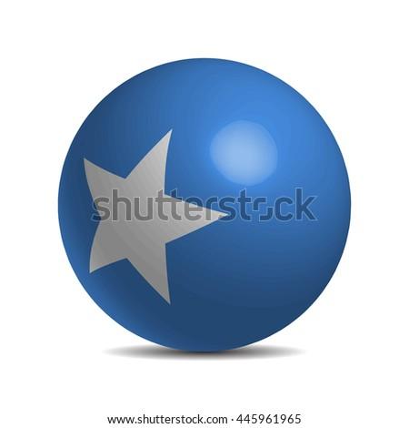 Somalia flag on a 3d ball with shadow - stock vector