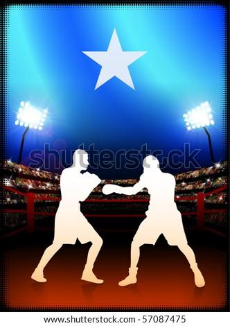 Somalia Flag with Boxer on Stadium Background Original Illustration - stock vector