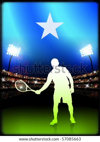 Somalia Flag with Tennis Player on Stadium Background Original Illustration - stock vector