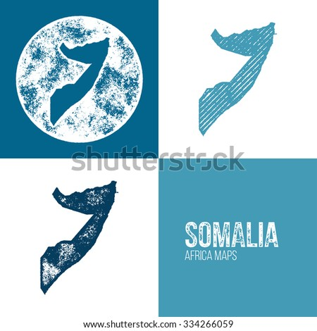Somalia Grunge Retro Maps - Africa - Three silhouettes Somalia maps with different unique letterpress vector textures - Infographic and geography resource - stock vector