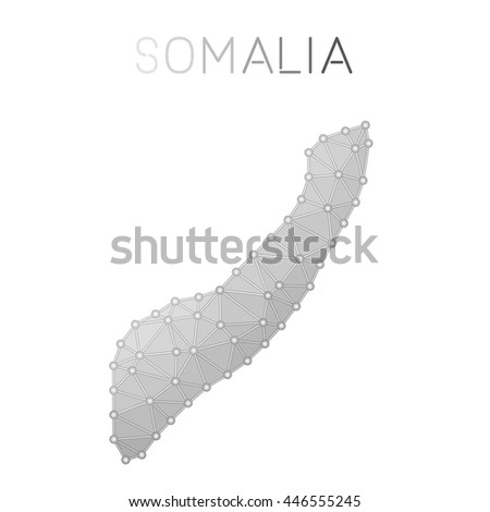 Somalia polygonal vector map. Molecular structure country map design. Network connections polygonal Somalia map in geometric style for your infographics. - stock vector