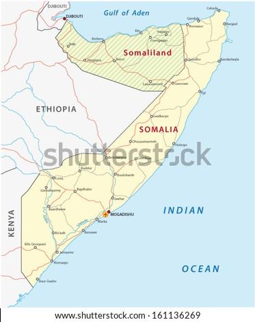 somalia road map - stock vector