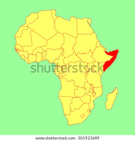 Somalia vector map isolated on Africa map. Editable vector map of Africa. - stock vector