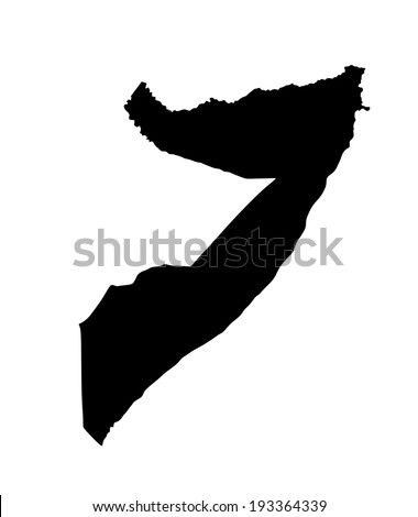 Somalia vector map isolated on white background. High detailed silhouette illustration.  - stock vector