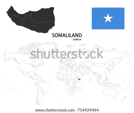 Somaliland somalia map on world map stock vector 754424464 somaliland somalia map on world map stock vector 754424464 shutterstock sciox Images