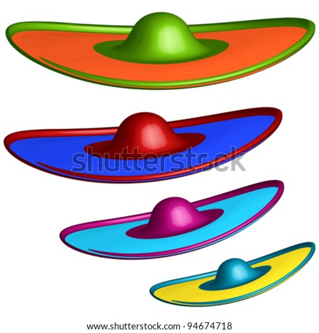 sombrero hats against white background, abstract vector art illustration - stock vector