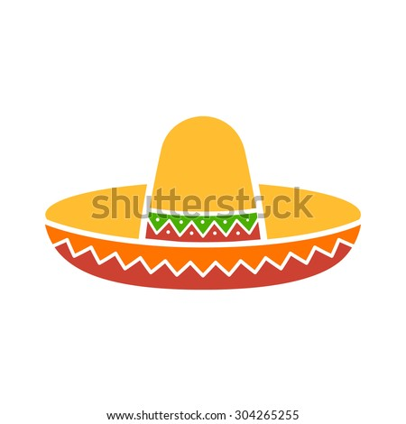 Sombrero / Mexican hat colorful flat icon for apps and websites - stock vector