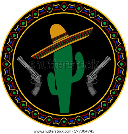 sombrero, two pistols and cactus. first variant. vector illustration - stock vector