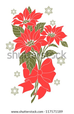 some branches of poinsettia with red bow and snow on white background - stock vector