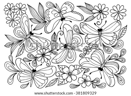 Some butterflies for coloring - stock vector