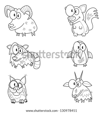 Some cartoon animals (bighorn, racoon, lynx, squirrel, woodpecker, goat). - stock vector