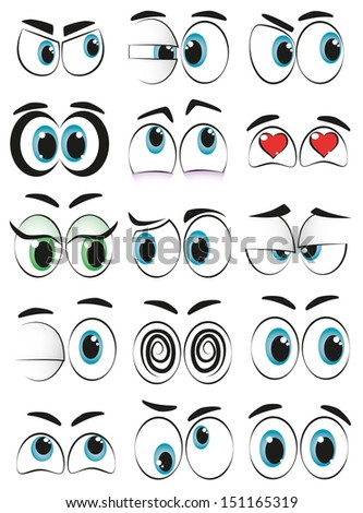Some cartoon eyes expressing different moods. - stock vector