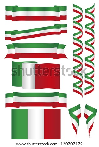 Some flags and banners with Italian colors - stock vector