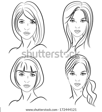 some hairstyles for women. Front view. Black and white outline mode. Vector illustration. - stock vector