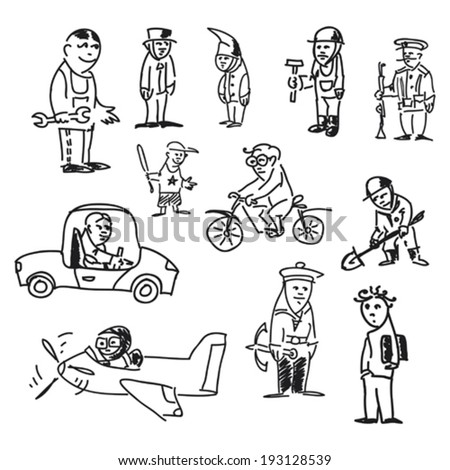 some hand drawn scetches of people characters and professions - stock vector