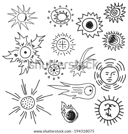 some hand drawn scetches of sun and astronomical symbols - stock vector