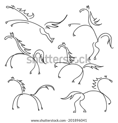 some hand drawn sketches of horses - stock vector