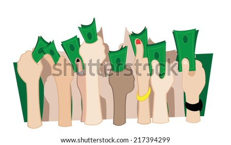 some hands holding cash money - stock vector